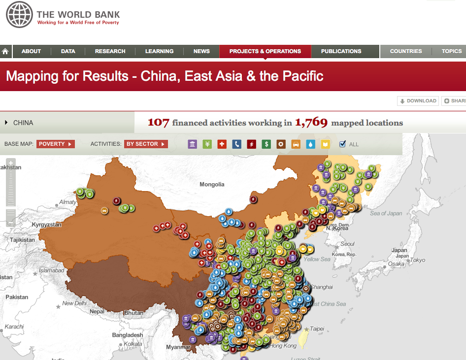 World bank open data mapping global projects and operations if you focus in on an area for example around the area of harbin you can see geographical patterns to the type of projects taking place gumiabroncs Image collections